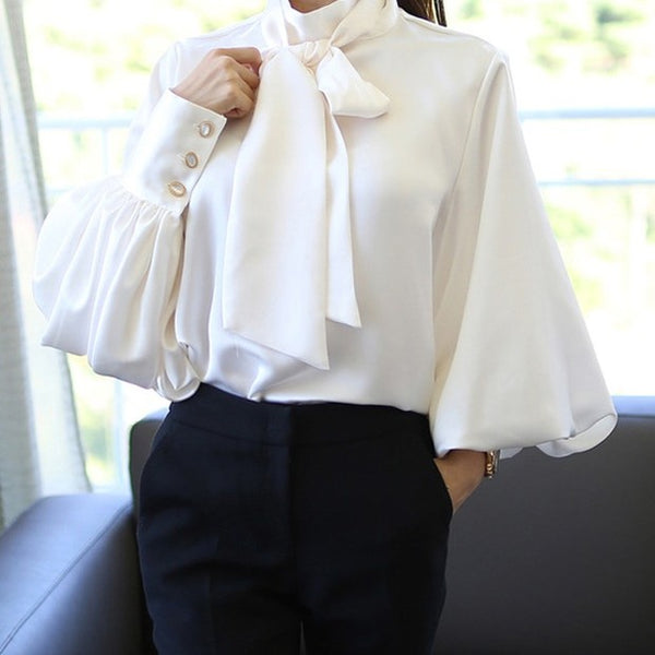 Stylish Office Lady Bow Tie Lantern Sleeve Loose Blouse - Sell-off