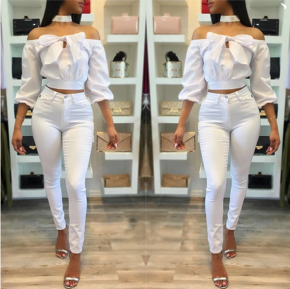 Summer Design Off The Shoulder Sexy White Blouse - Sell-off