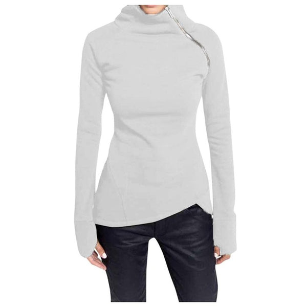 Winter Women's Casual Solid Blouse Long Sleeve Turtleneck Zipper Sweatshirt - Sell-off