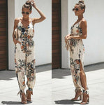 Women Casual Floral Strap Sleeveless V Neck Jumpsuit Romper Bodysuit Female Ladies Fashion