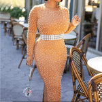 Women's Fall Beads Long Sleeve Elegant Maxi Dress - Sell-off