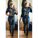 Women Denim Skinny Zipper Pants High Waist Stretch Jeans Long Pencil Trousers - Sell-off