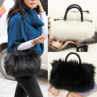 Ladies PU Leather Faux Fur Handbags Shoulder Bags - Sell-off