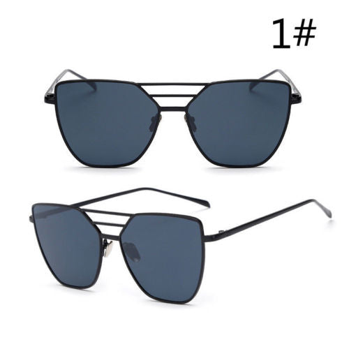 Women Retro Fashion Aviator Mirrored Flat Lens Sunglasses - Sell-off