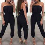 Ladies Romper Long Solid Off Shoulder Jumpsuit - Sell-off