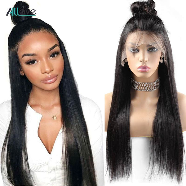 Straight Lace Front Human Brazilian Wigs 250 Density Lace Wig