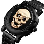 Skull Black Gold Men Watch Laser Engraved Skull Head Watche - Sell-off