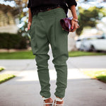 Solid Color Long Harem Comfy Elastic High Waist Trousers - Sell-off