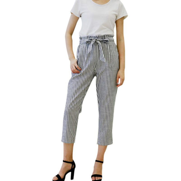 Women's casual High waist white striped pants - Sell-off