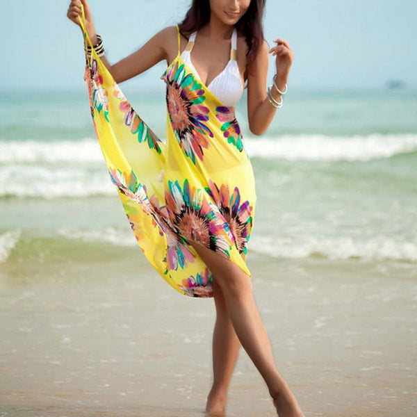 Chiffon Floral Print Beach Cover Up Towel - Sell-off