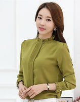 Blouse Chiffon Solid Shirt Stand Collar blouse long sleeve - Sell-off
