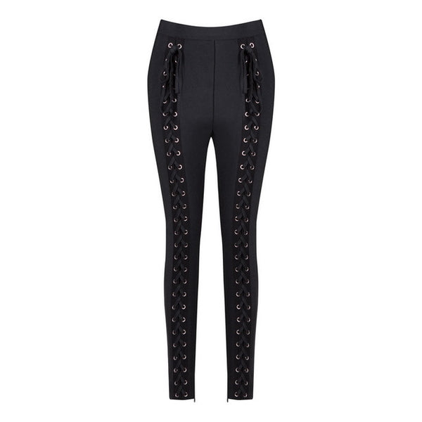 High Waist Pants Trousers Legging Women Pants Bandage Button Pencil Pants - Sell-off