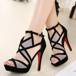 Sexy party wedding bridal shoes women black thin heel roman Gladiator sandals platform high heels open toe sandals - Sell-off