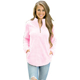 Zipper Stand Collar Pink Sweat shirt Women Pullover - Sell-off