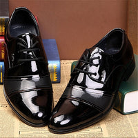 Men's Lace-Up Oxfords Dress Shoes Men's PU Leather Business Office Flat Shoes - Sell-off
