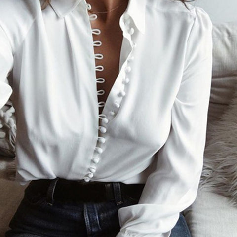 Women's Summer White Blouse Casual Loose long-sleeved lapel single-breasted shirt Autumn Chiffon - Sell-off