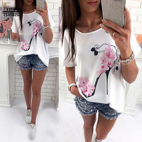 Women Short Sleeve High Heels Printed Tops Beach Casual Loose Blouse