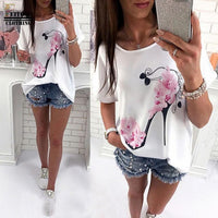 Women Short Sleeve High Heels Printed Tops Beach Casual Loose Blouse - Sell-off