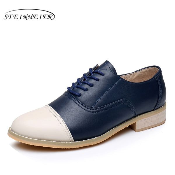 Genuine leather designer vintage flat shoes round toe handmade beige blue oxford shoes - Sell-off