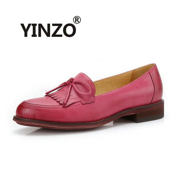 YINZO Brand shoes female Genuine Leather flat women's shoes