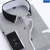 Men's Fashion Casual Long Sleeved Printed shirt Slim Fit Male Social Business - Sell-off