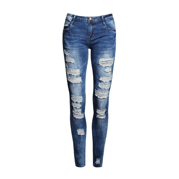 Women's Hole Stretch Cotton Ripped Skinny Jeans - Sell-off