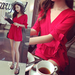 Shorts Rompers Womens Jumpsuits Summer Ladies Red Sexy Deep V Neck Short Sleeve - Sell-off