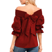 Sexy Off Shoulder Top Strapless Women Red Blouse Slash Neck Shirt - Sell-off