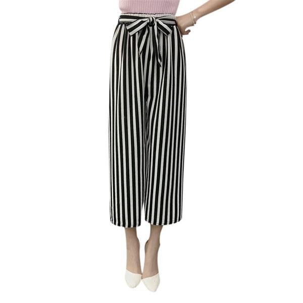 Wide Leg Summer Women High Waist Plaid Striped Loose Palazzo Pants - Sell-off