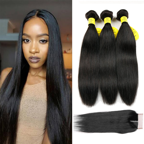 Brazilian weave 100% Human Hair Weave Bundles With Closure - Sell-off