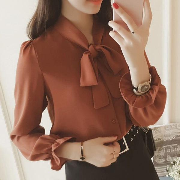Long Sleeved Female Shirt Bow Tie Neck Ruffles Chiffon Shirts - Sell-off