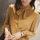 Elegant long sleeve women slim shirt spring fashion chiffon blouse - Sell-off