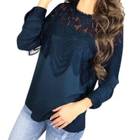 Women Chiffon Blouses Ladies Casual Lace Patchwork Hollow O Neck Shirt - Sell-off
