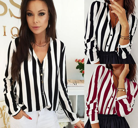 Women V-Neck Blouse Shirt Loose Long Sleeve Female Sexy Striped Tops