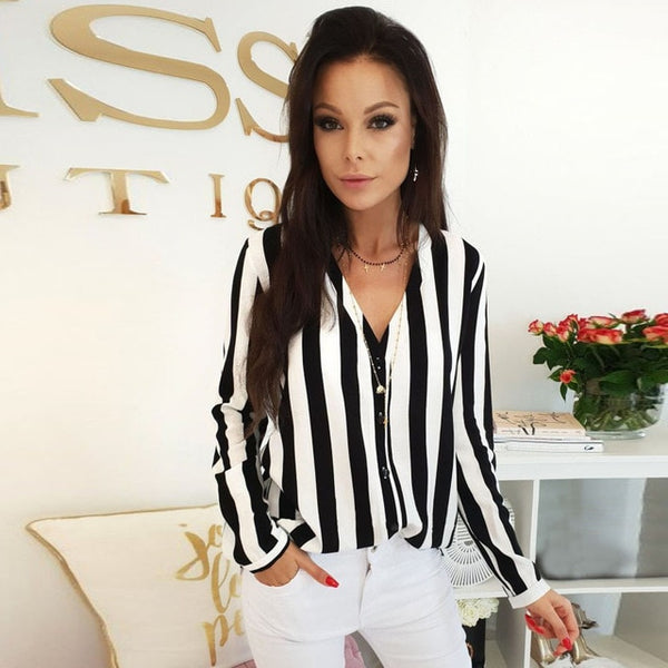 Women V-Neck Blouse Shirt Loose Long Sleeve Female Sexy Striped Tops - Sell-off