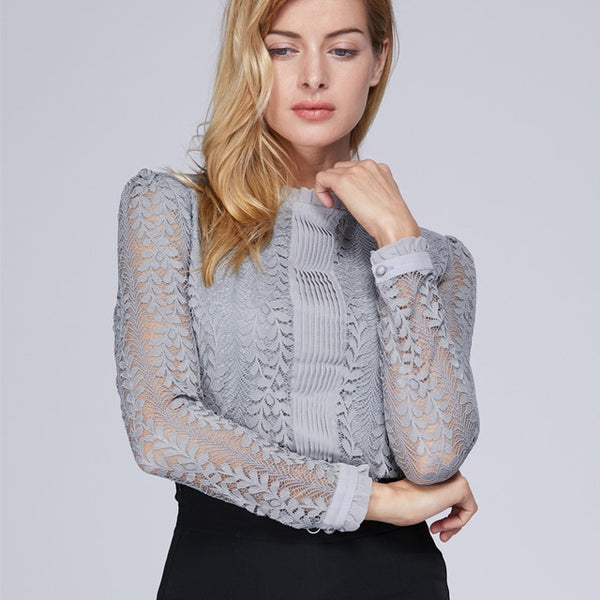 Fashion women blouses O neck long sleeved lace female solid blouse - Sell-off
