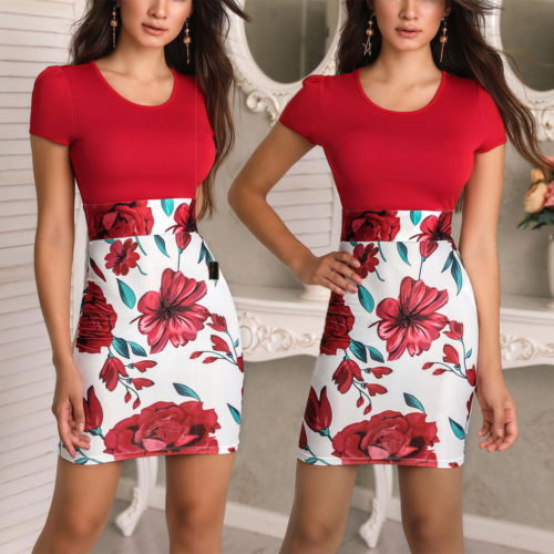 Women Vintage Summer Dress Short Sleeve Floral Print Casual Dress - Sell-off
