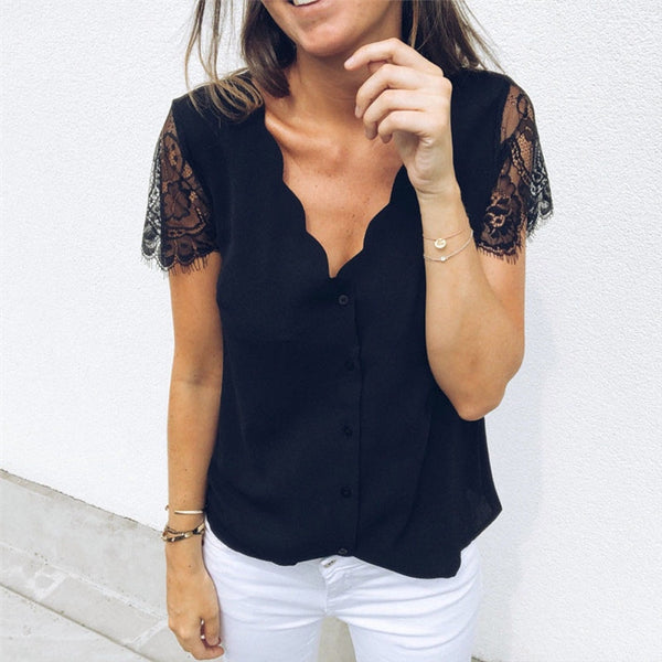 Women V Neck Lace  short  Sleeve Shirt Blouse Top women summer blouse - Sell-off