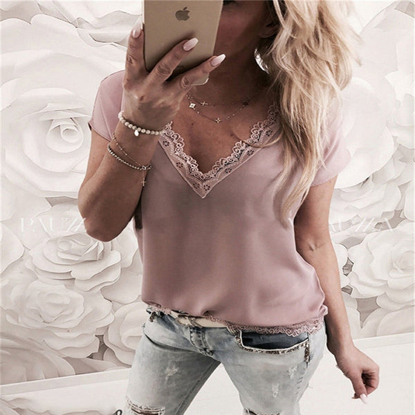 Women Blouse Tops Summer Top Casual Loose Short Sleeve Solid Lace V-neck  Blouse - Sell-off