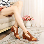 100% Genuine leather yinzo lady designer vintage Pumps Sandals shoes handmade shoes - Sell-off