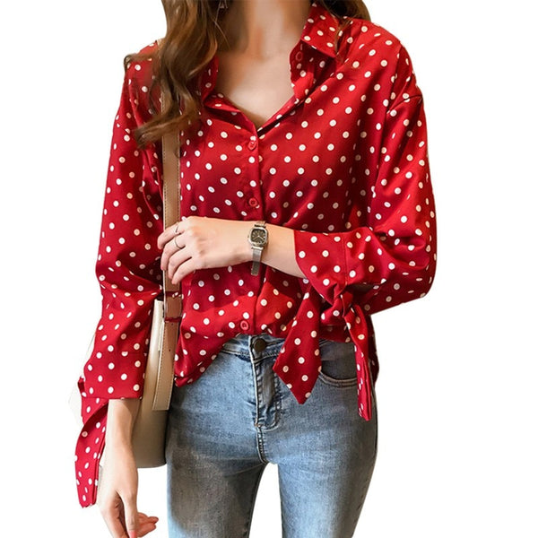 Polka Dot Blouse Women Office Lady Long Sleeve Blouse - Sell-off