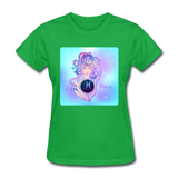 Pisces Lady on Blue - Women's - bright green
