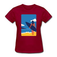 Lady with Surf Board - Women's - dark red