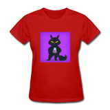 Satisfied Black Cat - Women's - red