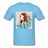 Beautiful Woman with Flowers - Men's - aquatic blue
