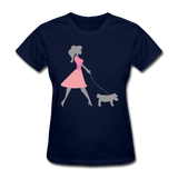 Woman in Pink Walking Dog - Women's - navy