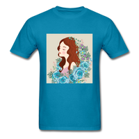 Beautiful Woman with Flowers - Men's - turquoise