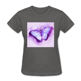 Purple and Blue Sketch Butterfly - Women's - charcoal