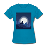 Wolf Howling at Moon - Women's - turquoise