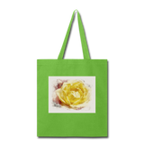 Yellow Rose Watercolor - Tote - lime green